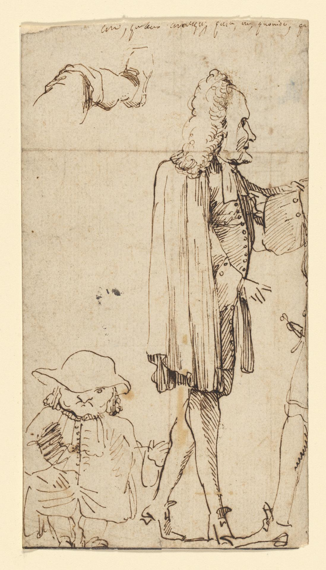 Caricature of an abbe and other figures Study of an architectural detail