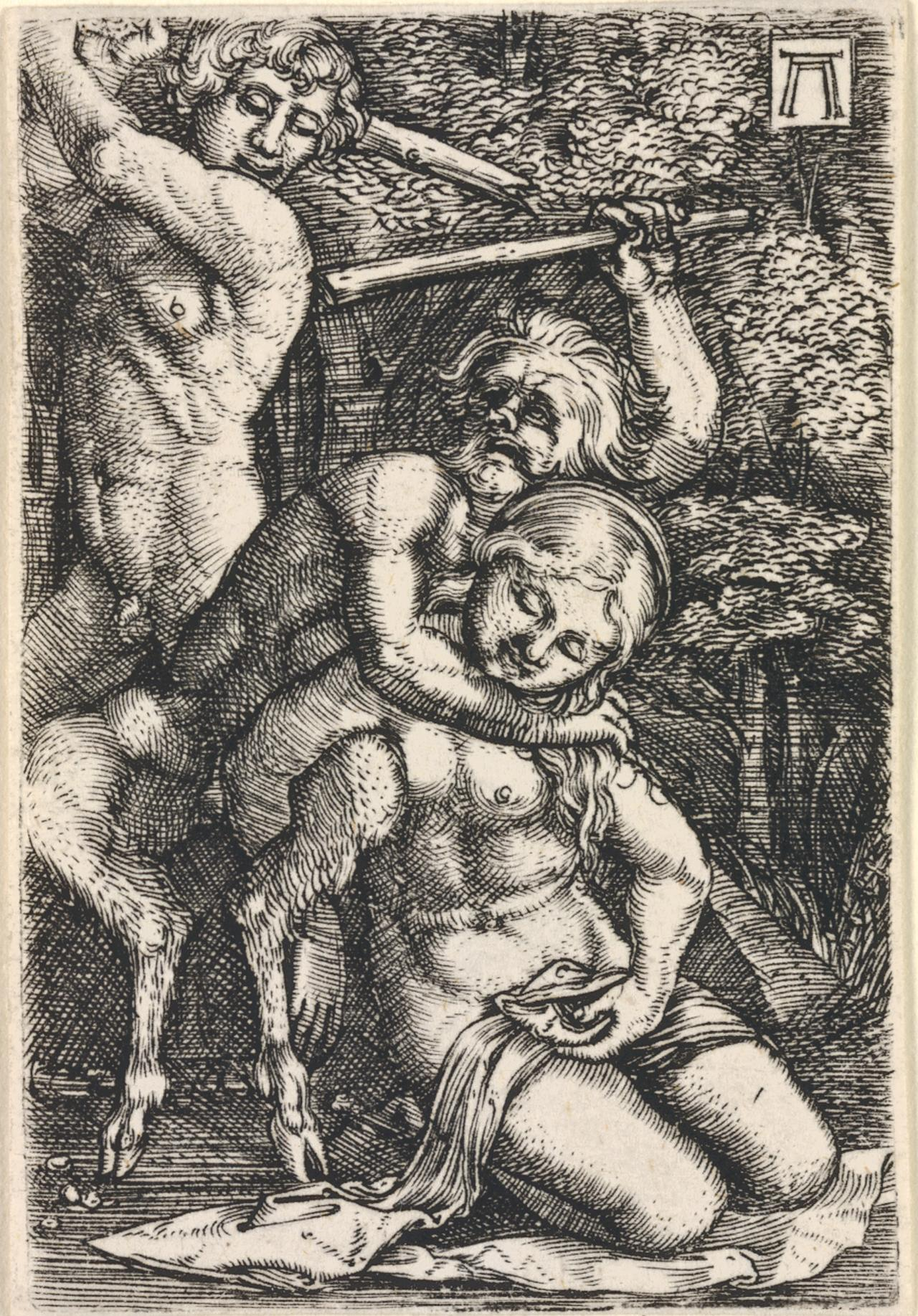 Satyr attacking a nymph, himself being attacked