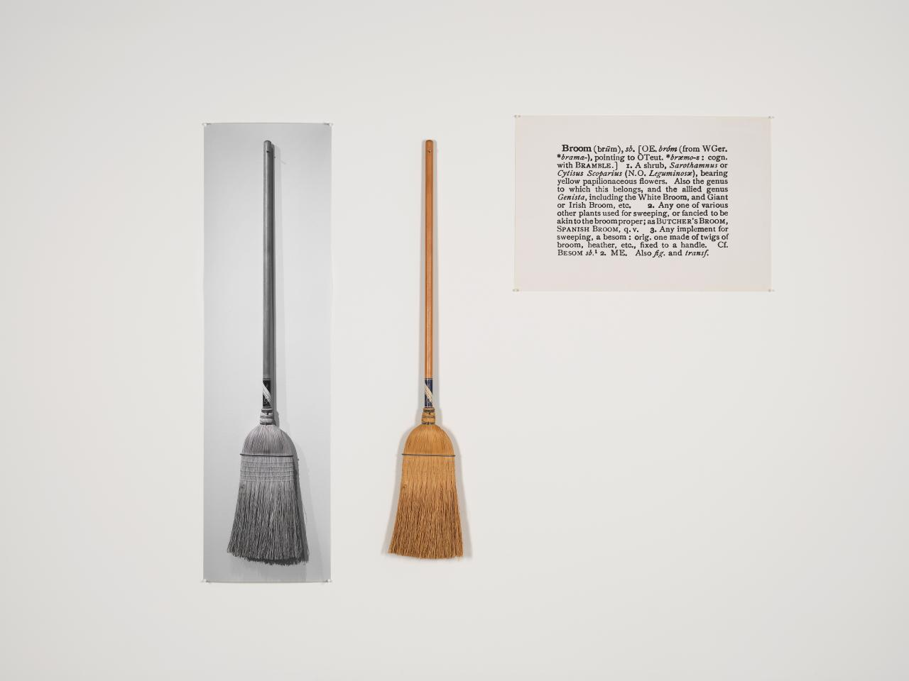 One and three brooms