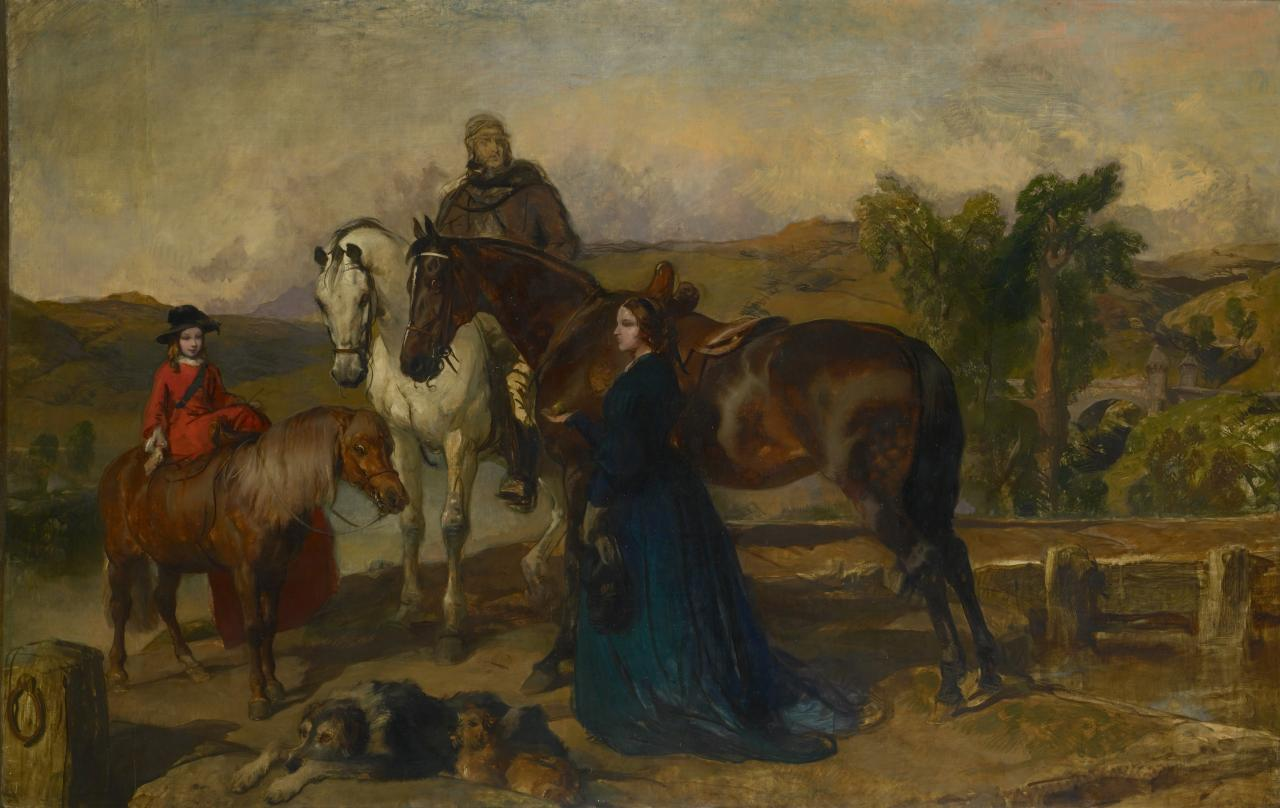 The Earl and Countess of Sefton and daughter, with horses and dogs
