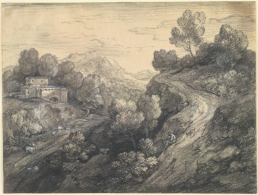 Mountain landscape with classical buildings, shepherd and sheep