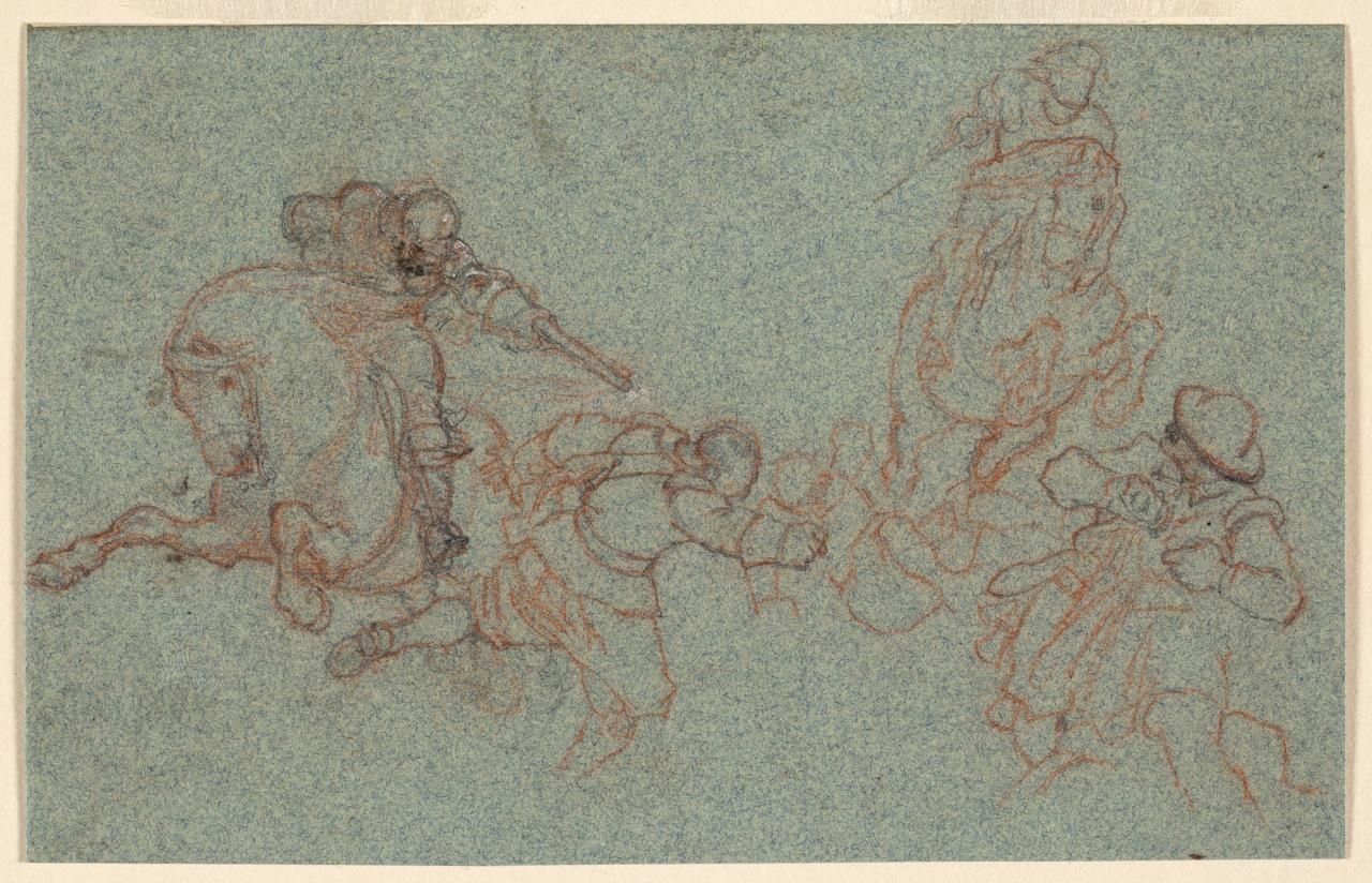 Study of fight between cavaliers and roundheads