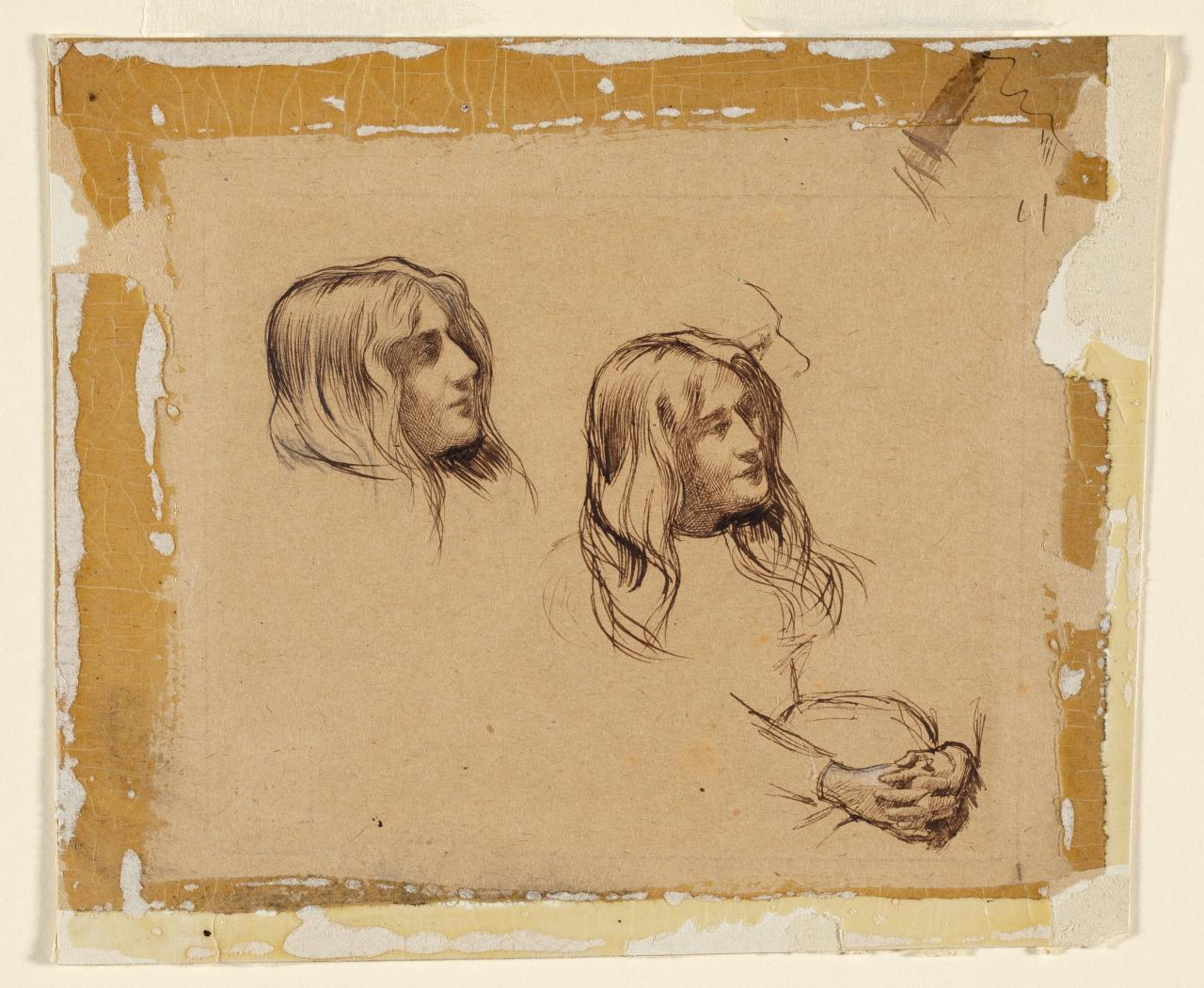 Studies of the same girl's head, hands clasped