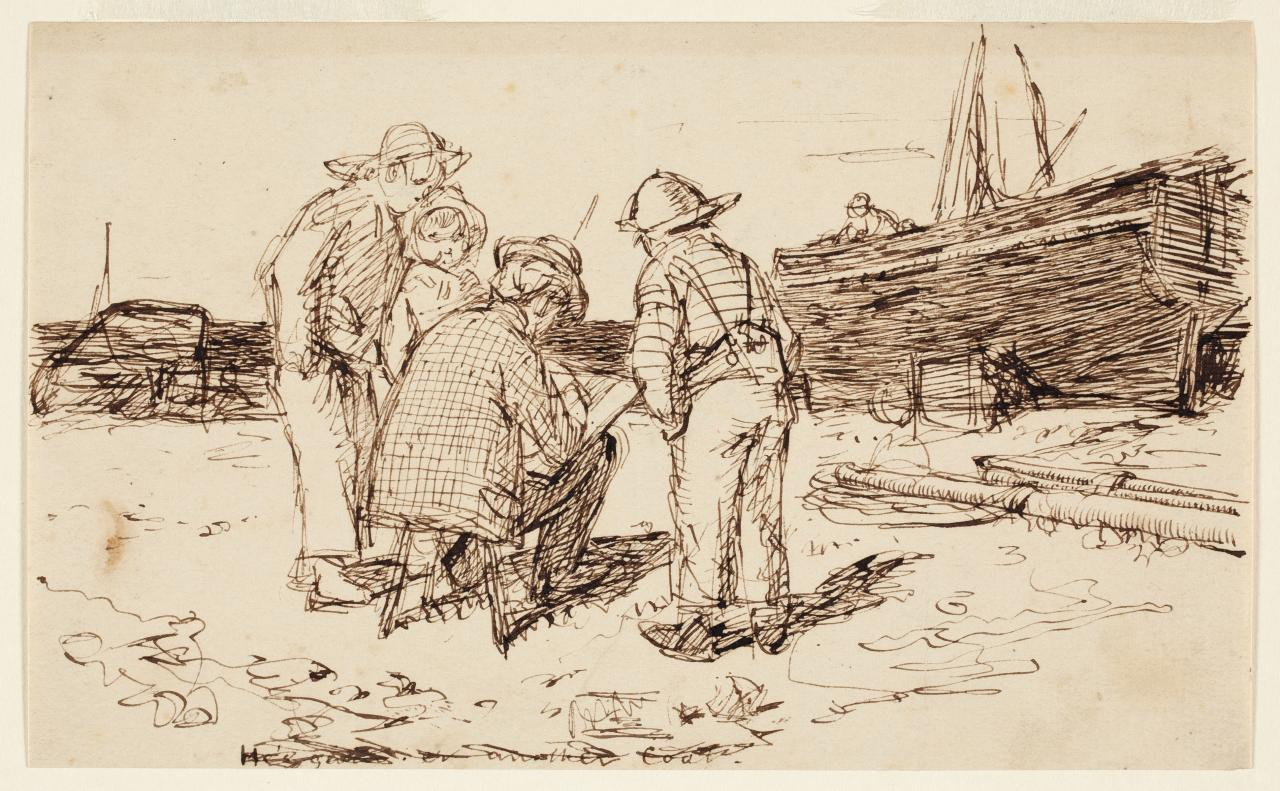 Artist sketching watched by boys