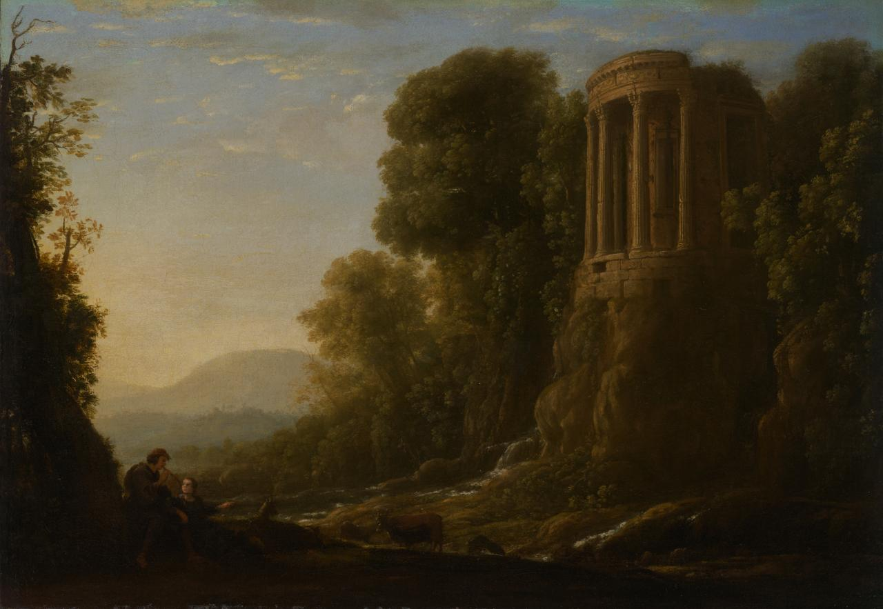 River landscape with Tiburtine Temple at Tivoli