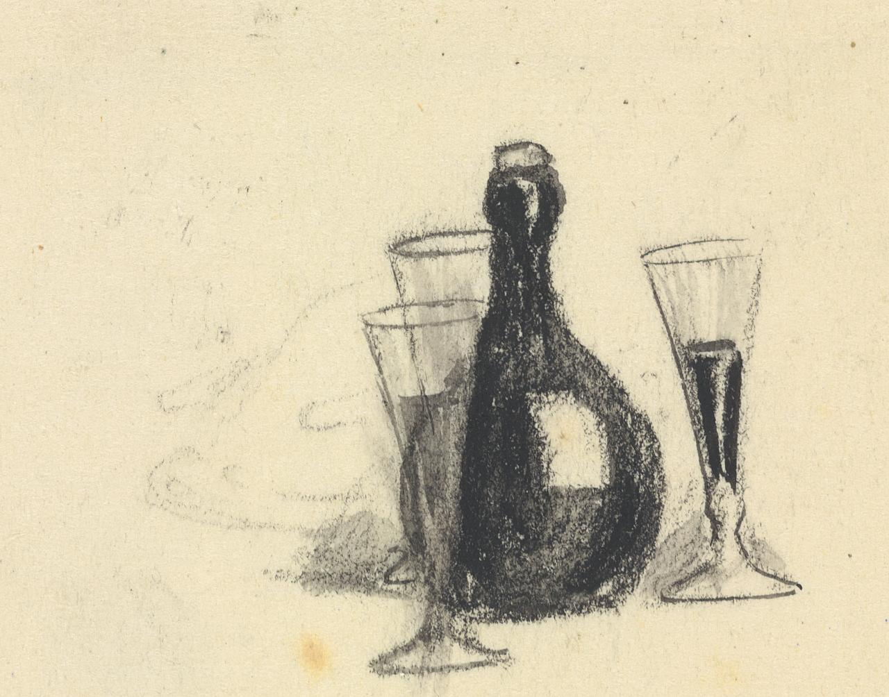 Chapter heading (Wine bottle and three glasses)