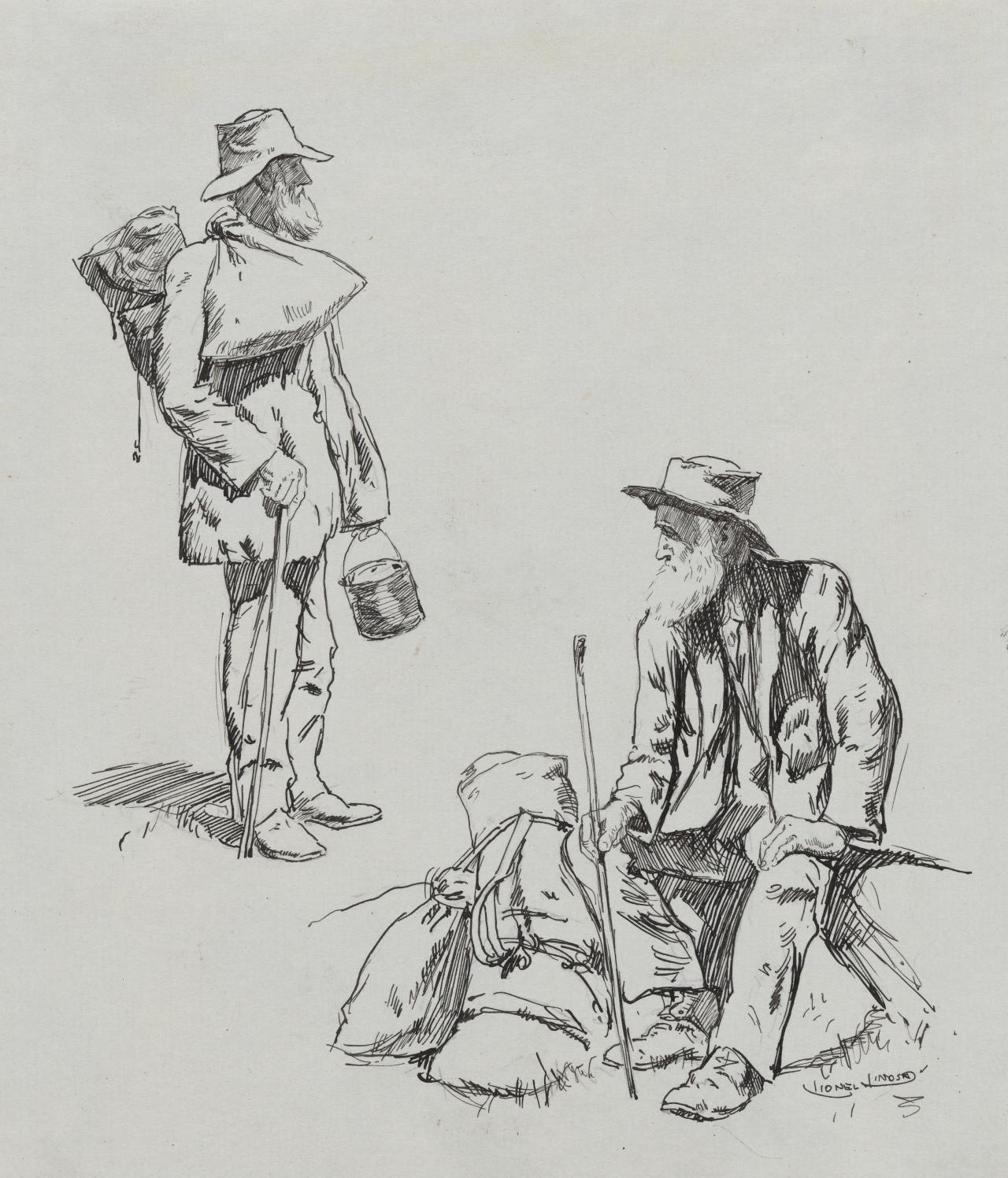 (Studies of swagmen, one standing one seated)