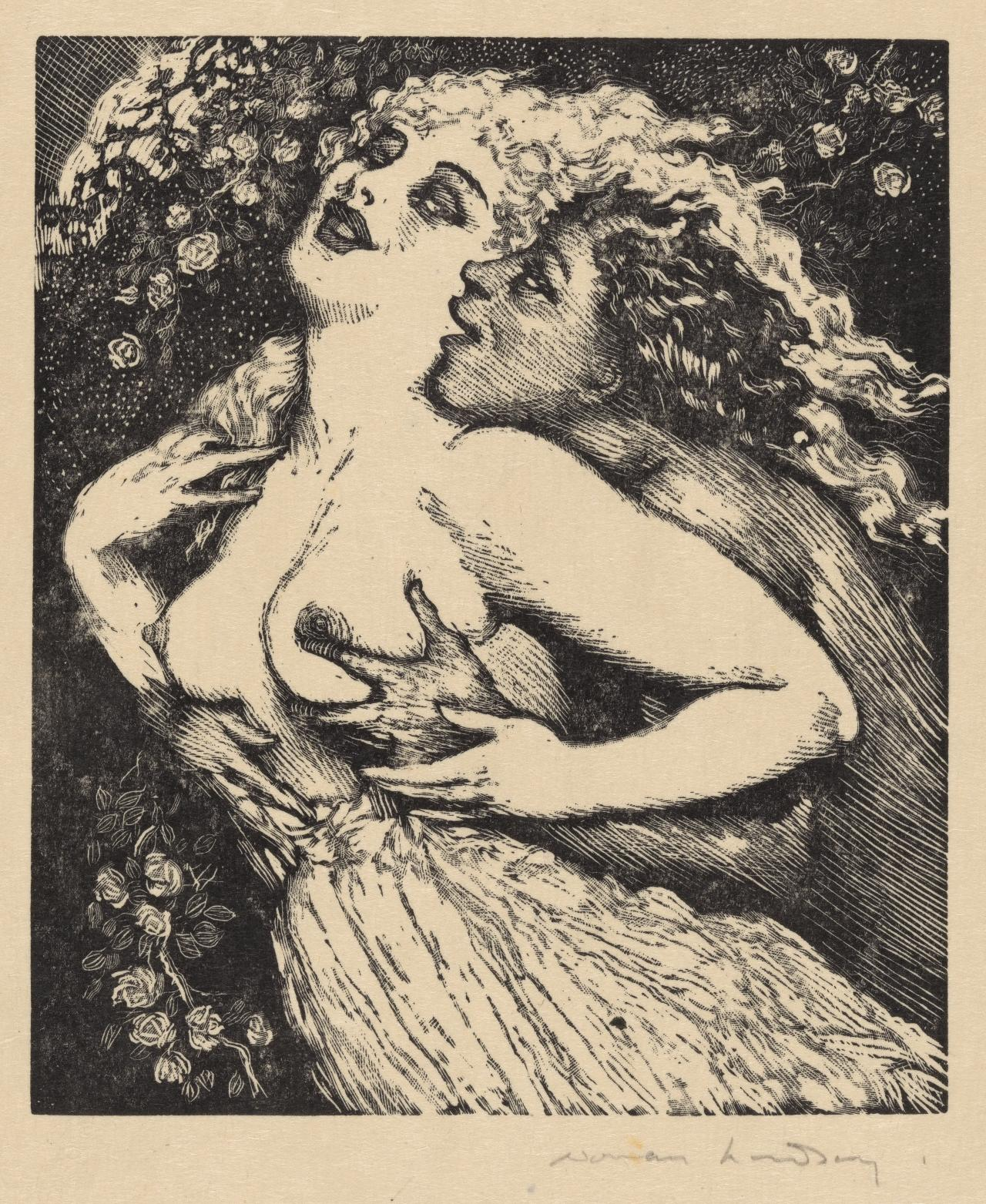 satyr embracing bare breasted woman from behind norman lindsay
