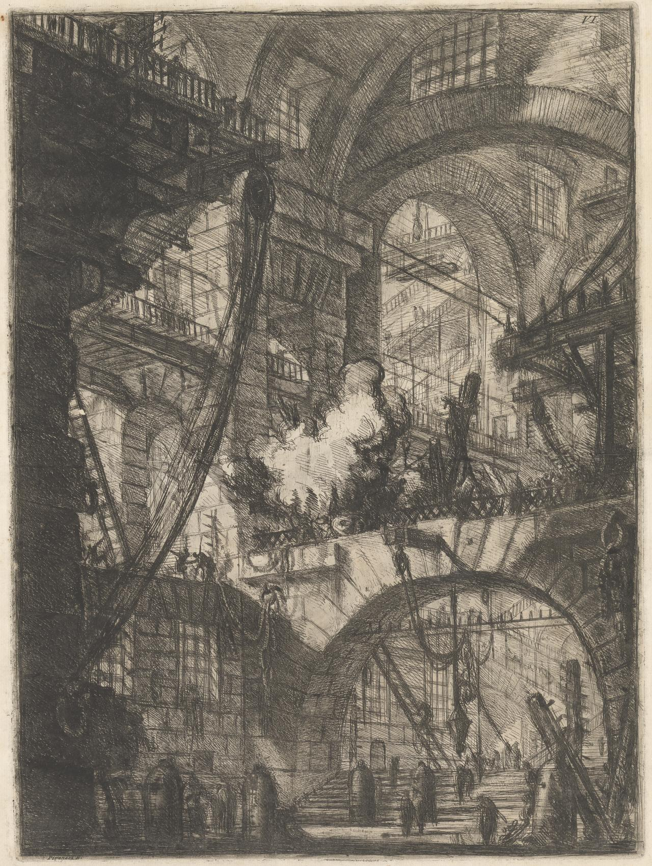 A Perspective of arches, with a smoking fire in the centre