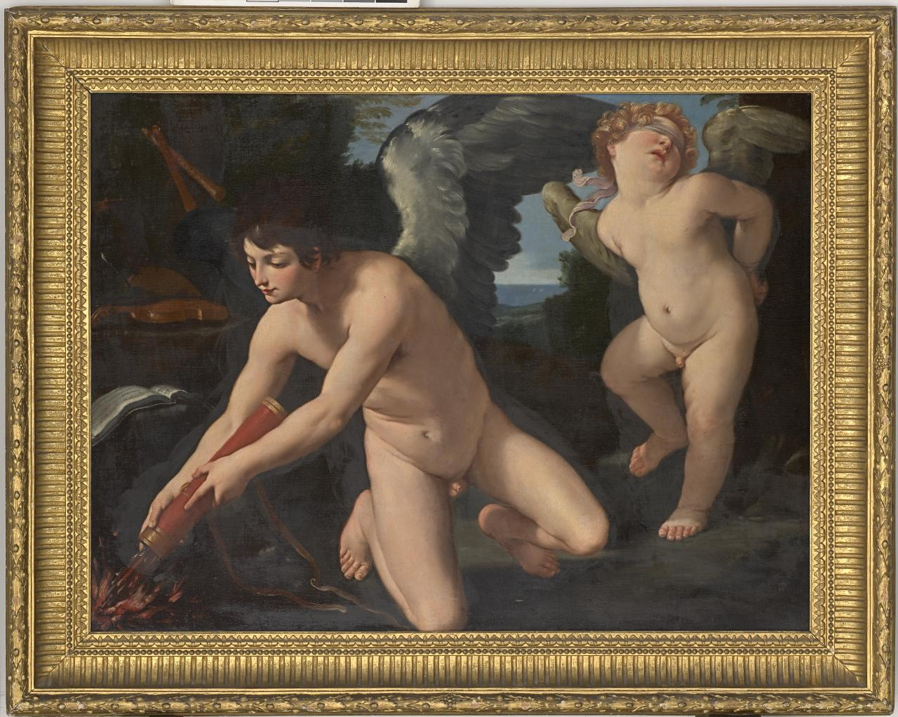 Eros destroying the shafts of Cupid