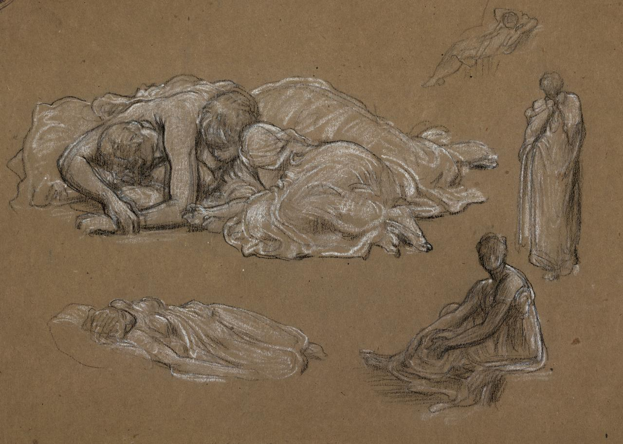 Studies for sleeping group in Cymon and Iphigenia, and other figures