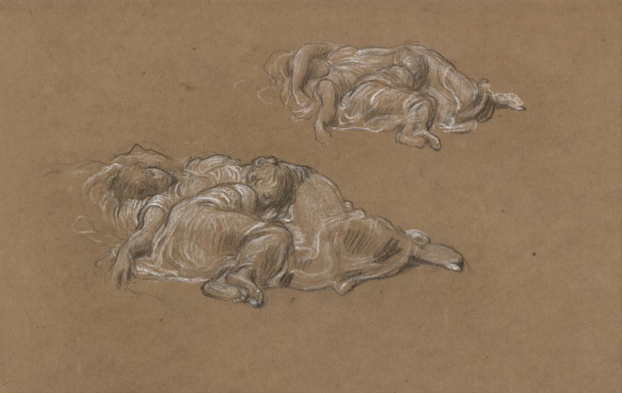 Studies for sleeping group in Cymon and Iphigenia