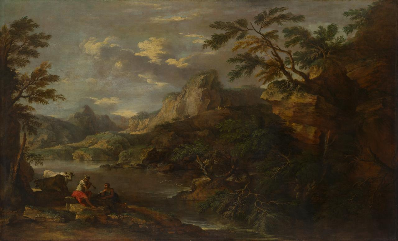 Romantic landscape with Mercury and Argus