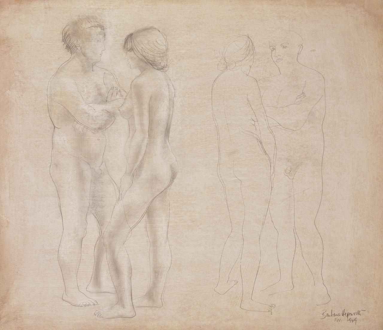 Two groups of two figures