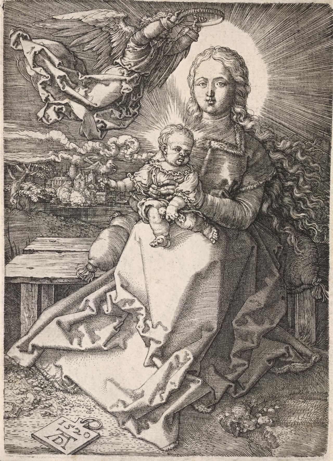 The Madonna crowned by one angel
