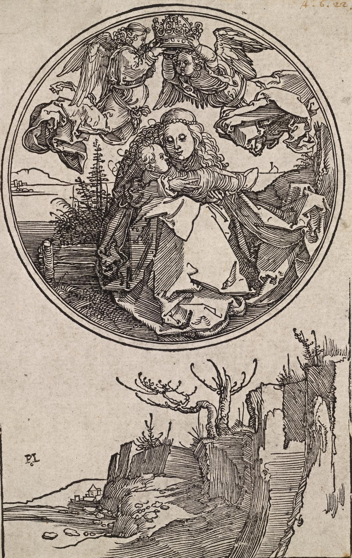 The Madonna crowned by two angels above a landscape