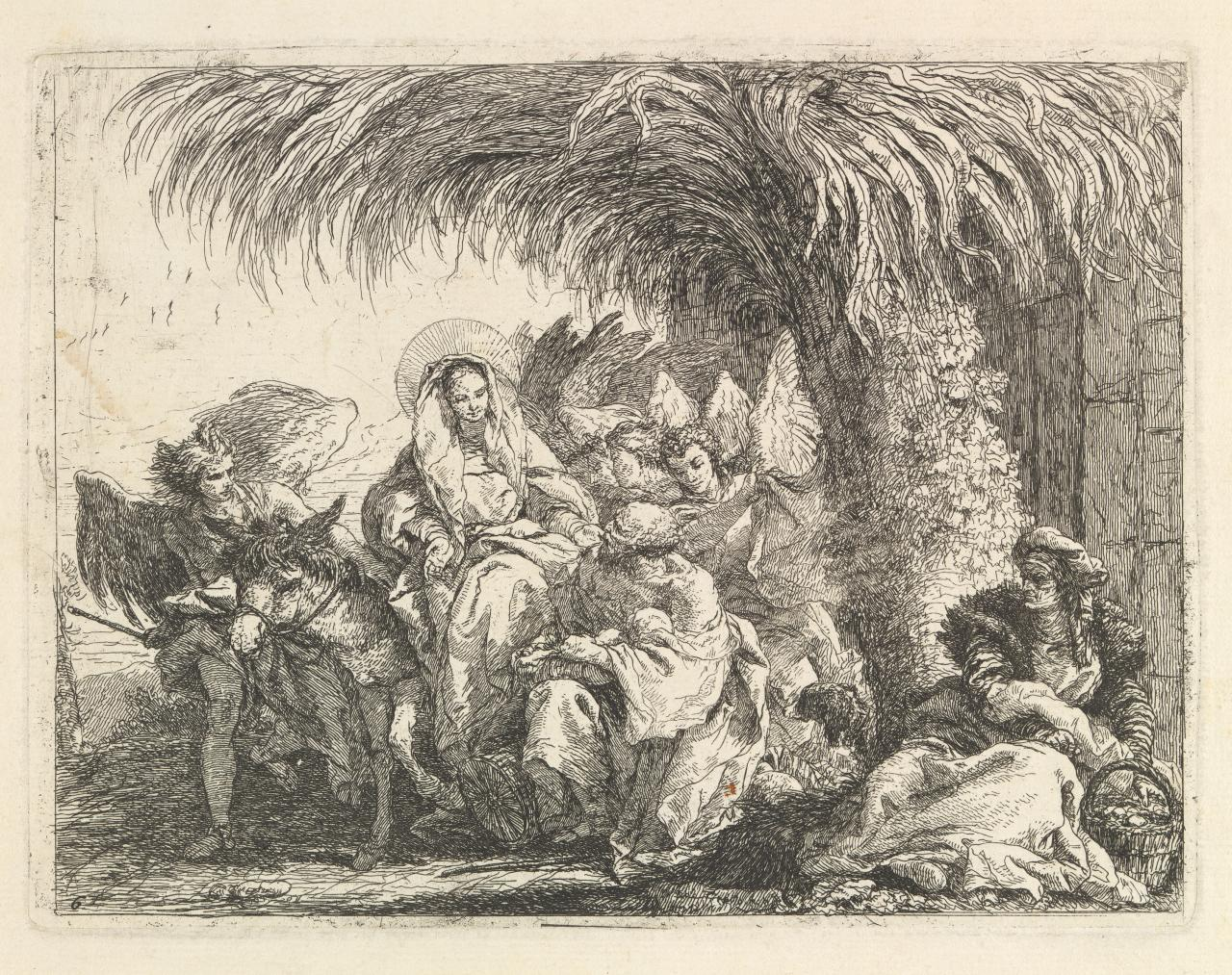 Joseph kneels with the Child before Mary.... (Flight into Egypt)
