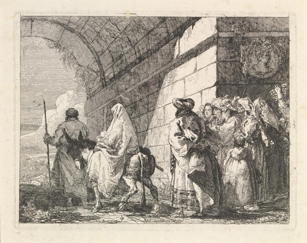 The Holy Family passes under a city arch (Flight into Egypt)