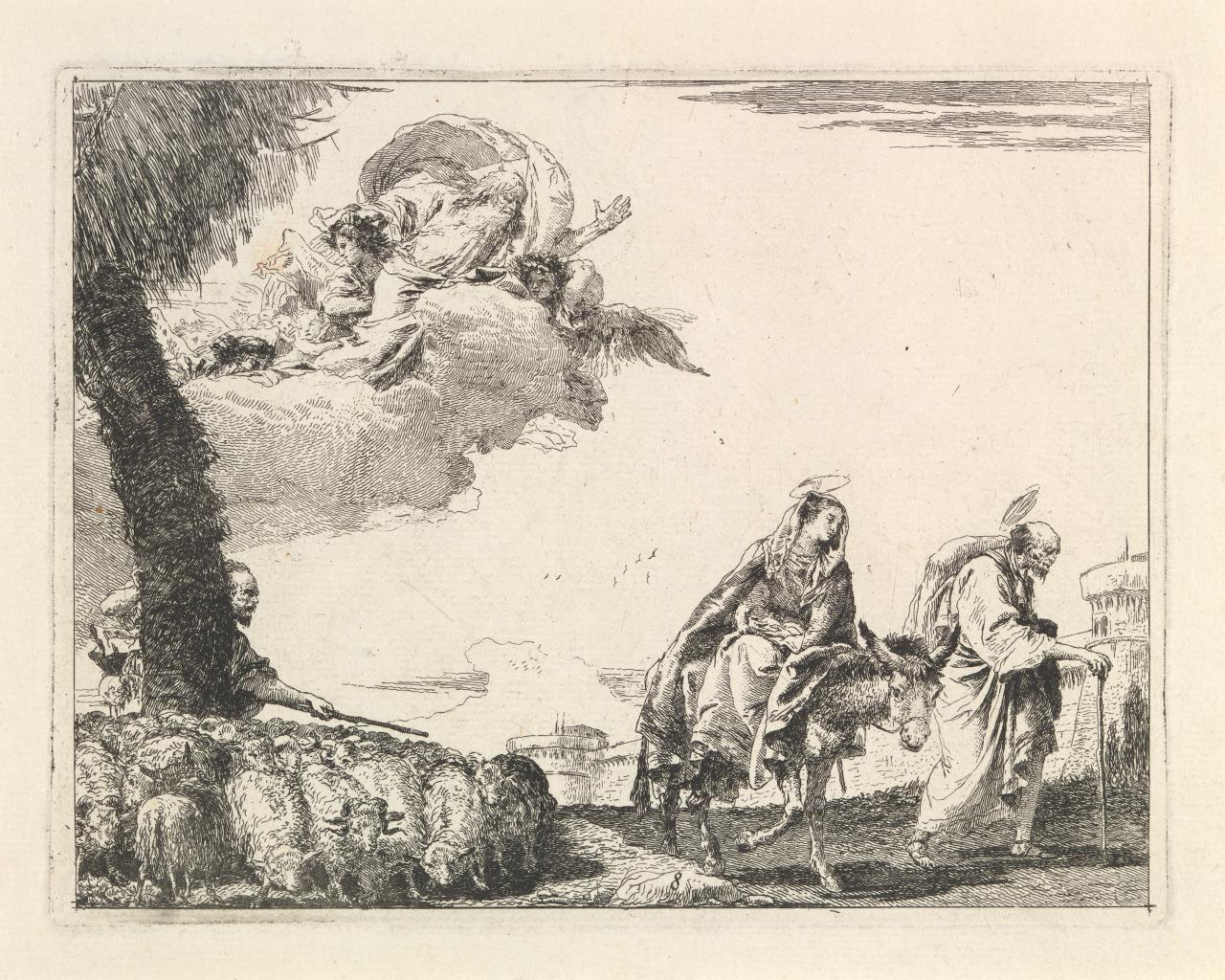 The Flight with the Holy Family at the right (Flight into Egypt)