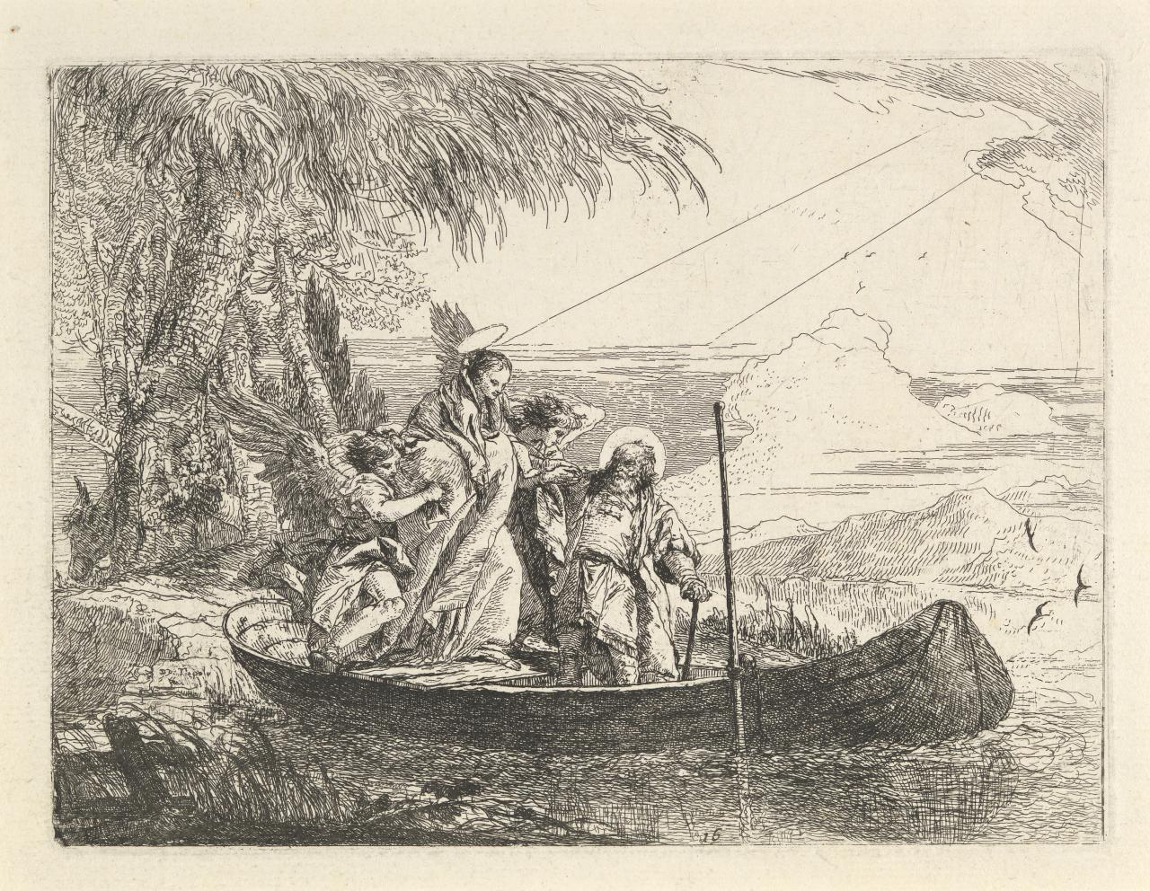 The Madonna, Child and Angels entering the boat (Flight into Egypt)