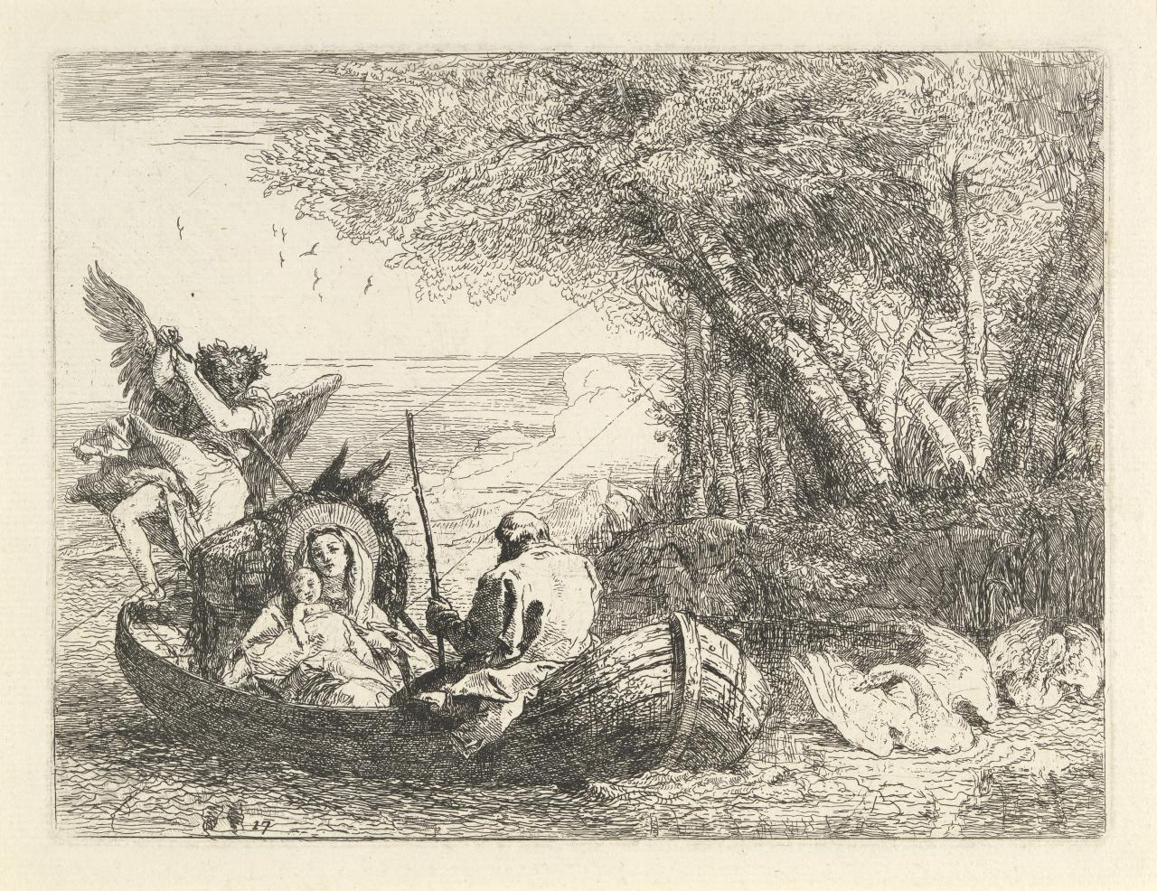 The Holy Family being ferried across the river (Flight into Egypt)