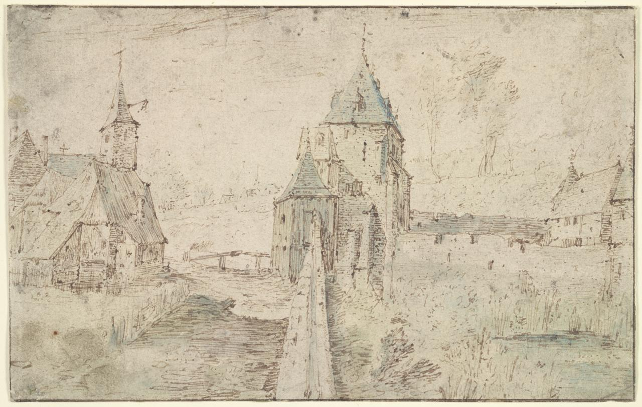 Landscape with a roadside church on the outskirts of a city