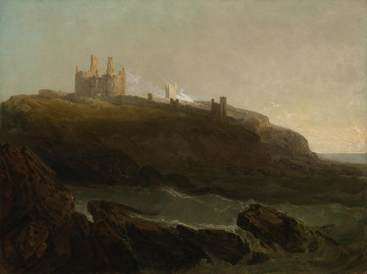 Dunstanburgh Castle, north-east coast of Northumberland, sunrise after a squally night