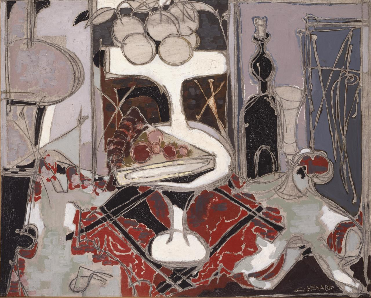 Still life with white fruit dish on a red cloth
