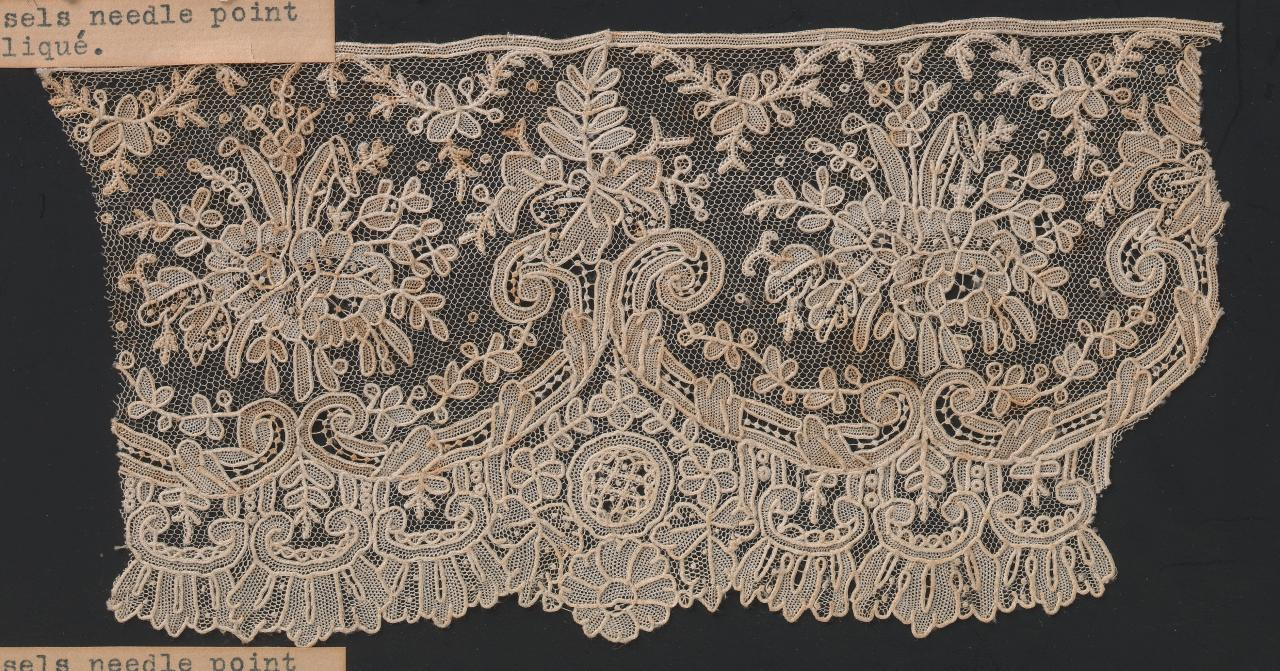 Brussels needle-point lace with needle-point net