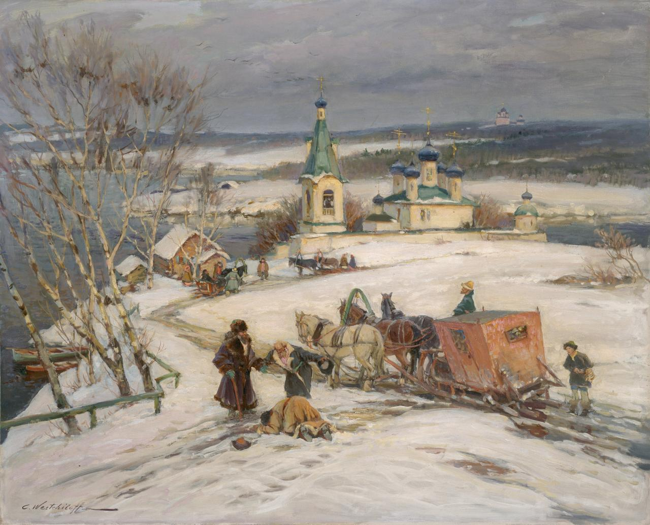 Arrival at a Russian monastery