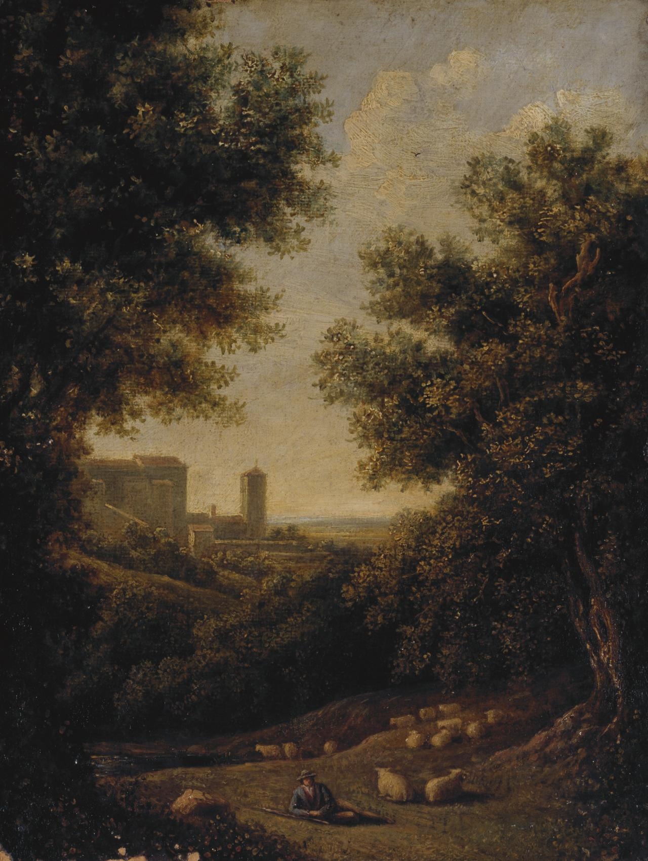 Landscape with Italian buildings and a shepherd