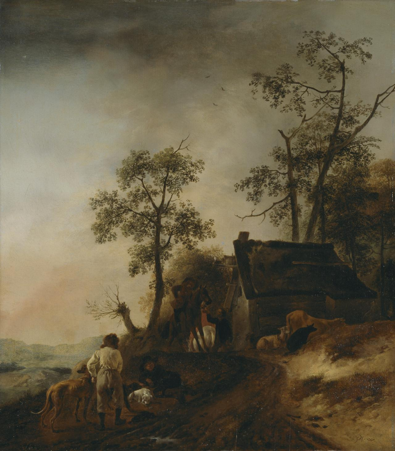 In front of the inn (Country scene with a hunting party)