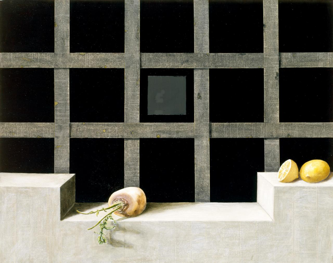 Vanitas: Still life with blackboard
