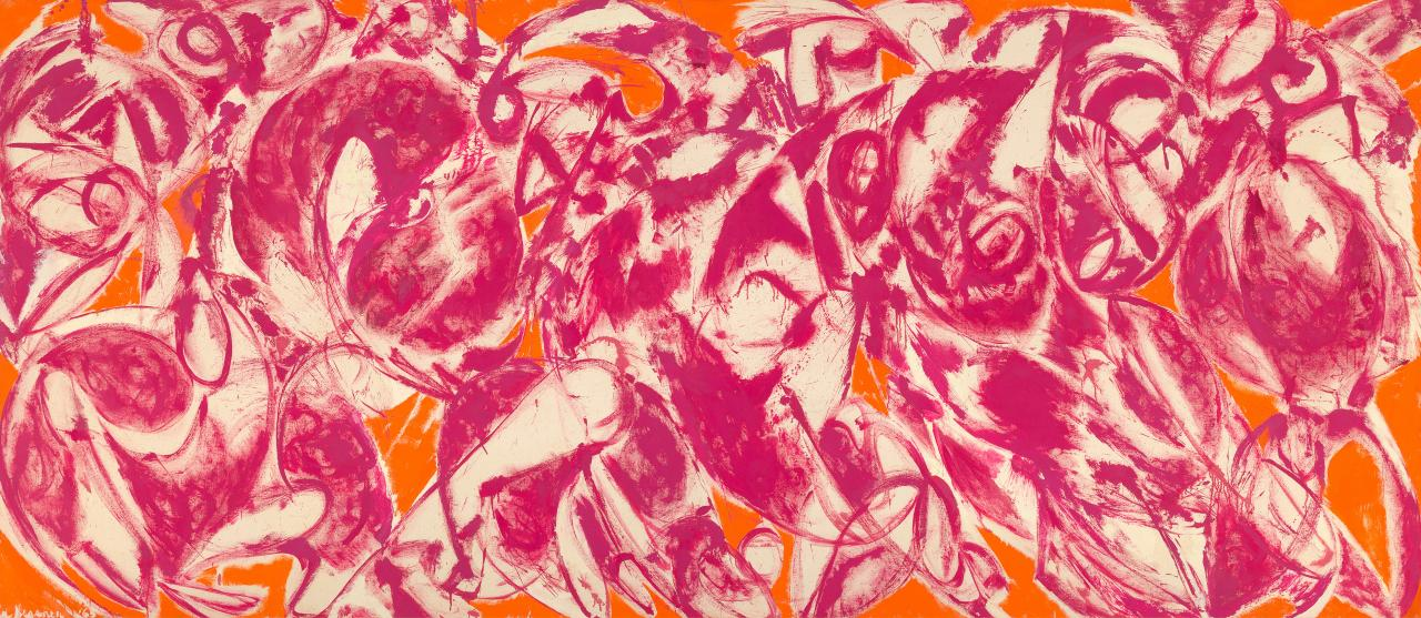 Lee Krasner, Combat, 1965, oil on canvas, 179 by 410.4 cm. National Gallery of Victoria, Melbourne (acquired with the Felton Bequest in 1992)