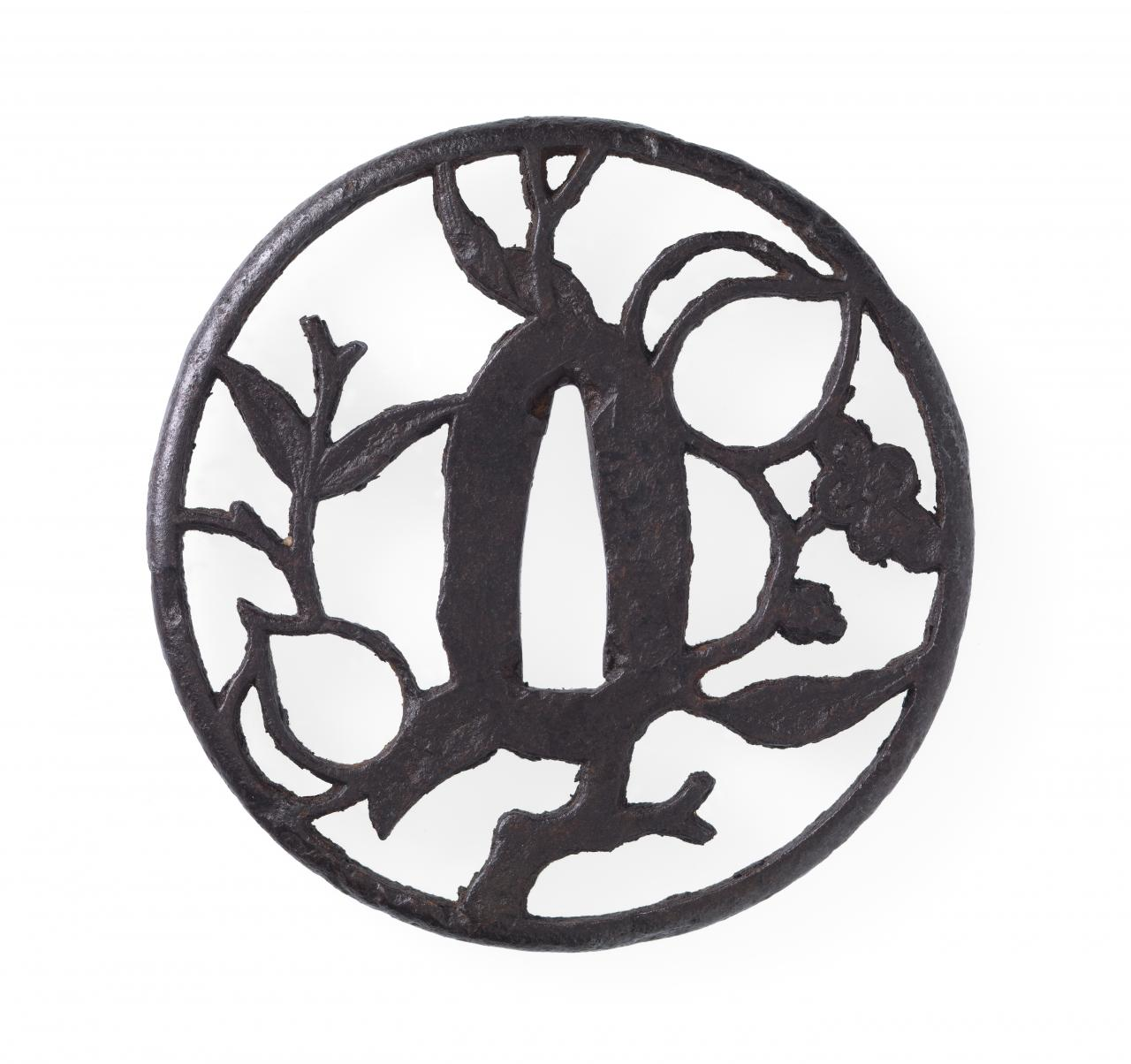 Sword guard with peach tree design