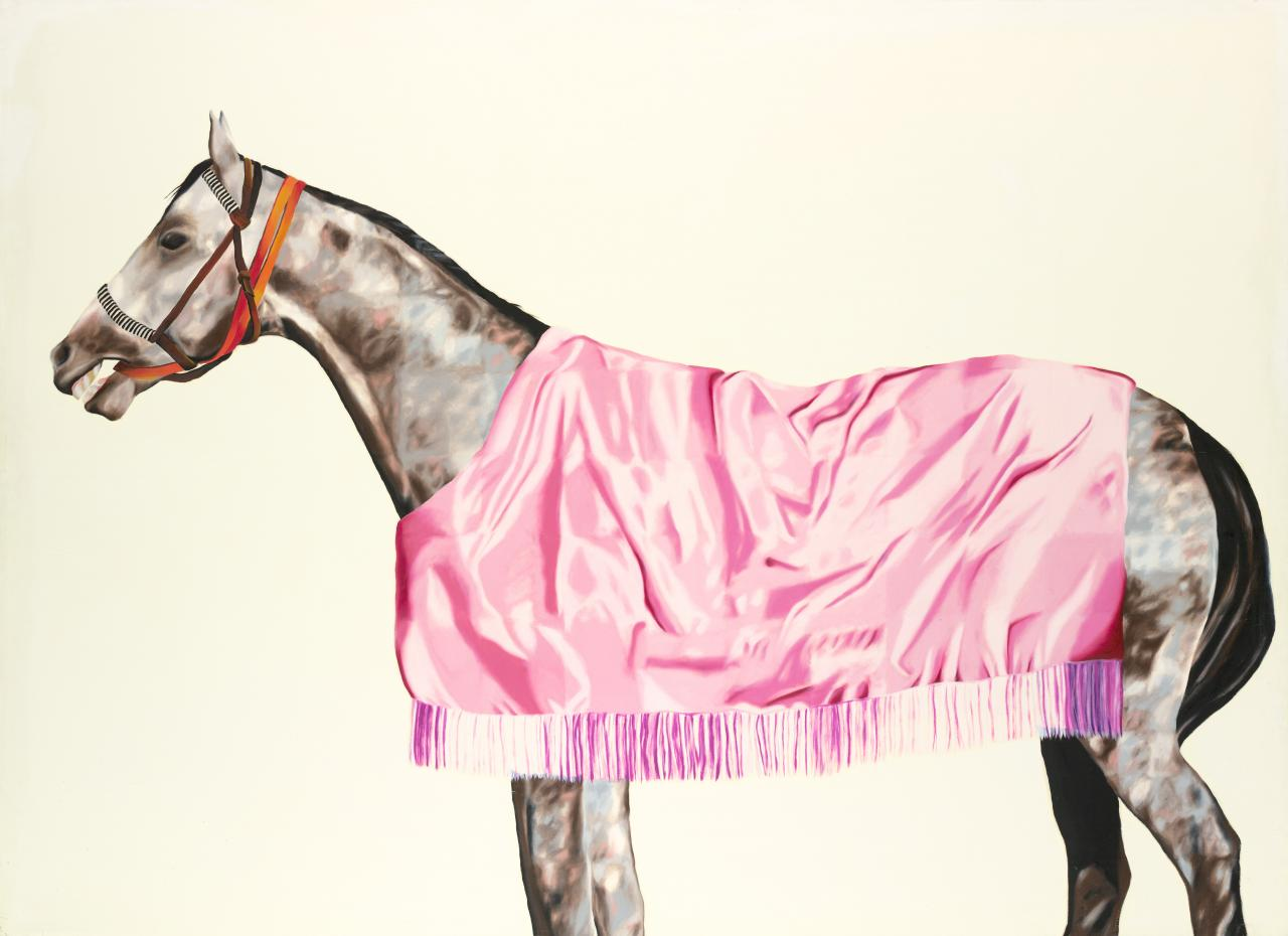 Horse series No.8, grey with pink rug