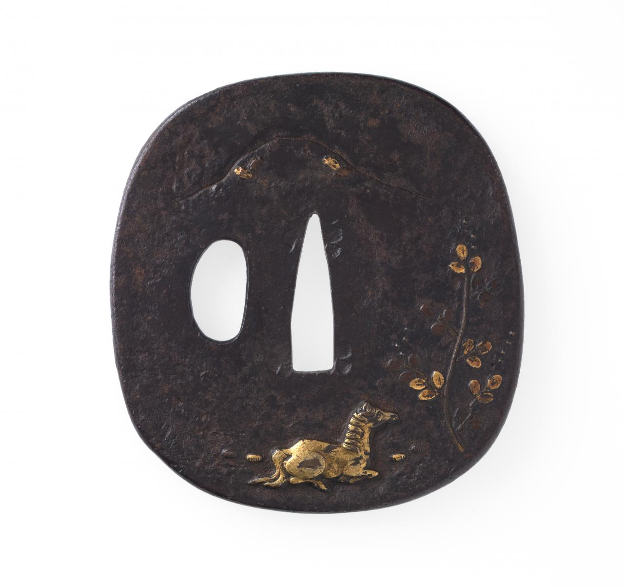 Sword guard with horse, bush clover and mountain design