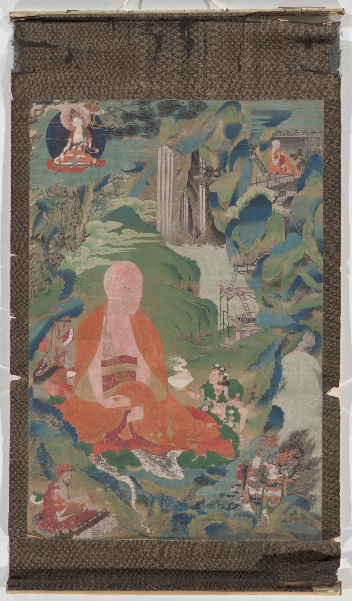 Thangka depicting a sage in a landscape