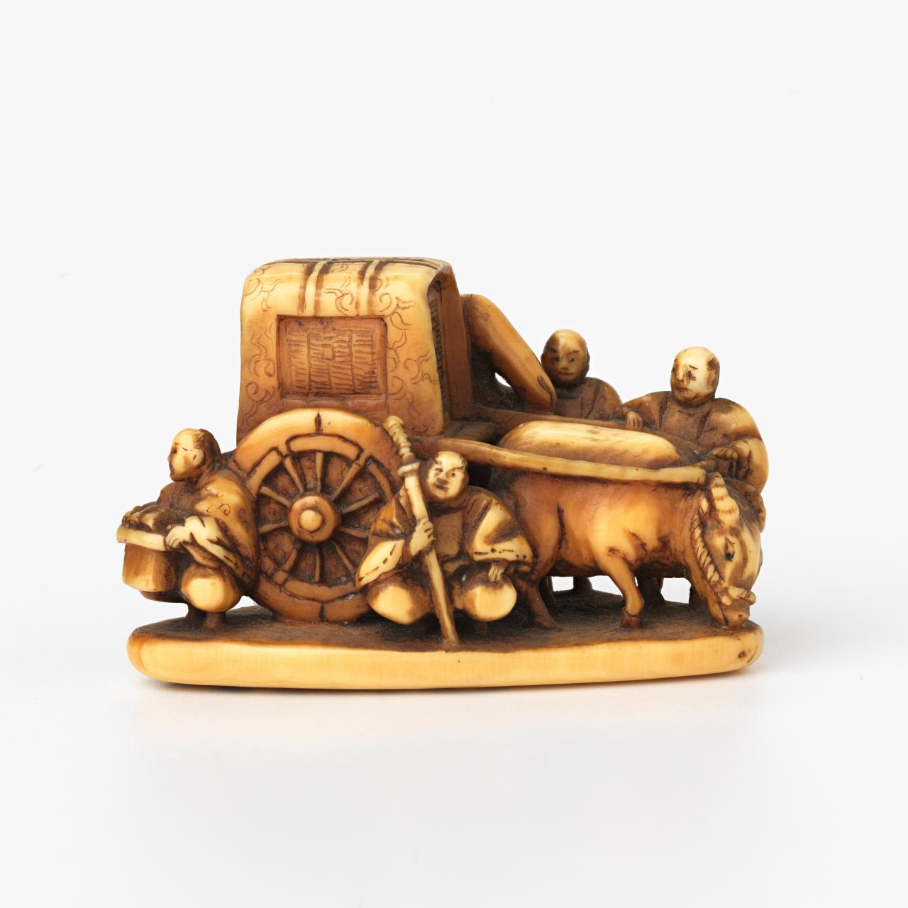 Ox cart, Netsuke