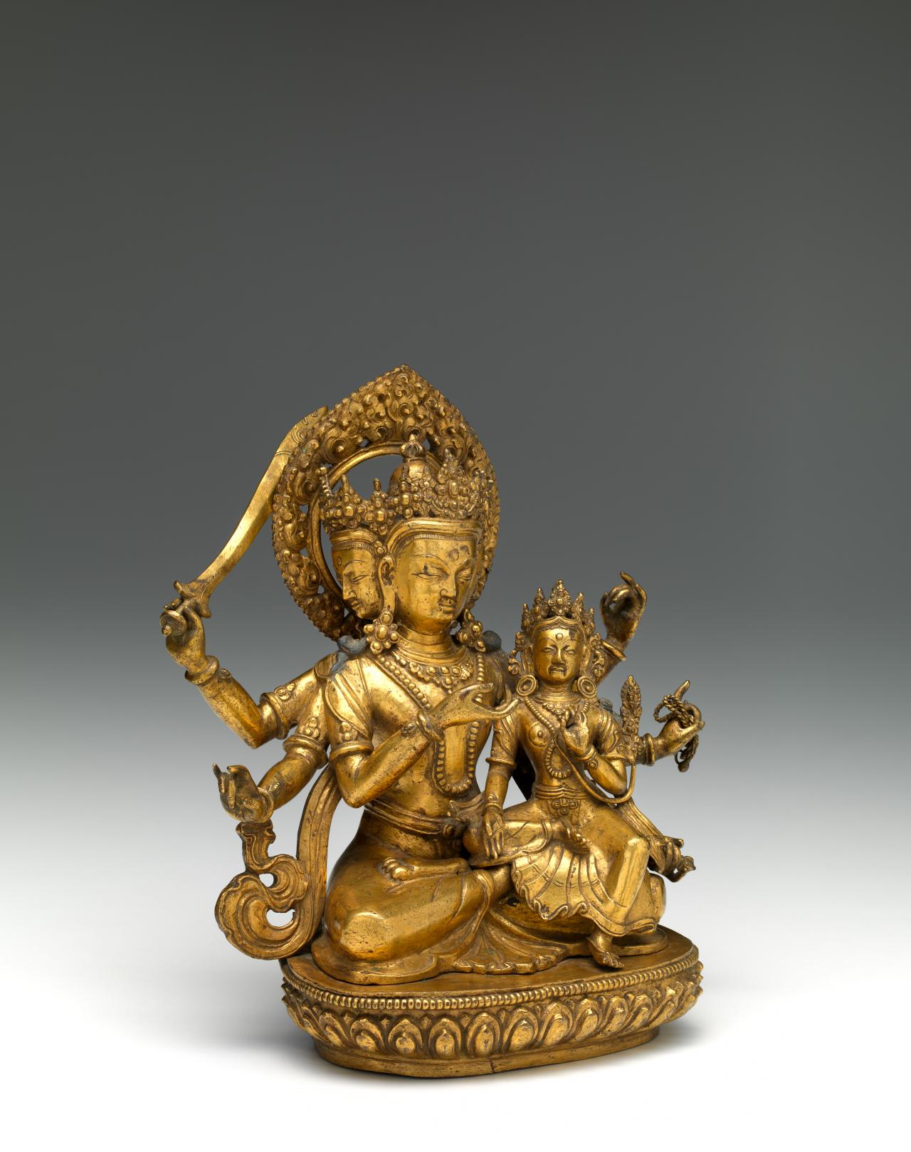 Manjushri with his consort Sarasvati