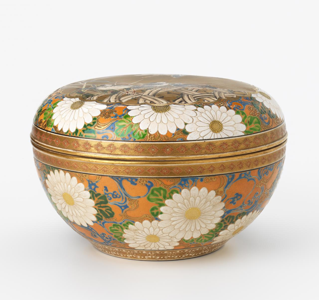 Large lidded bowl with sparrows and chrysanthemums