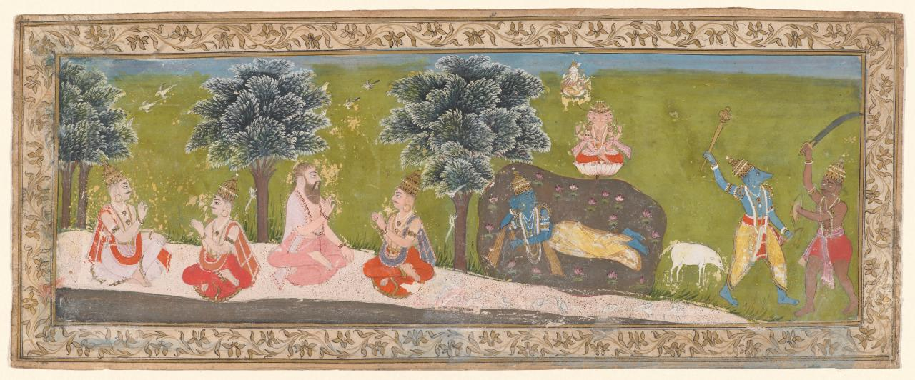 The creation of the world and Vishnu as the boar Varaha conquering the demon Hiranyaksha