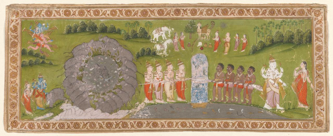 Liberation of the elephant Gajendra and the Churning of the Ocean of Milk