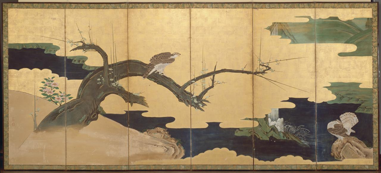Hawks with pine tree and plum blossom