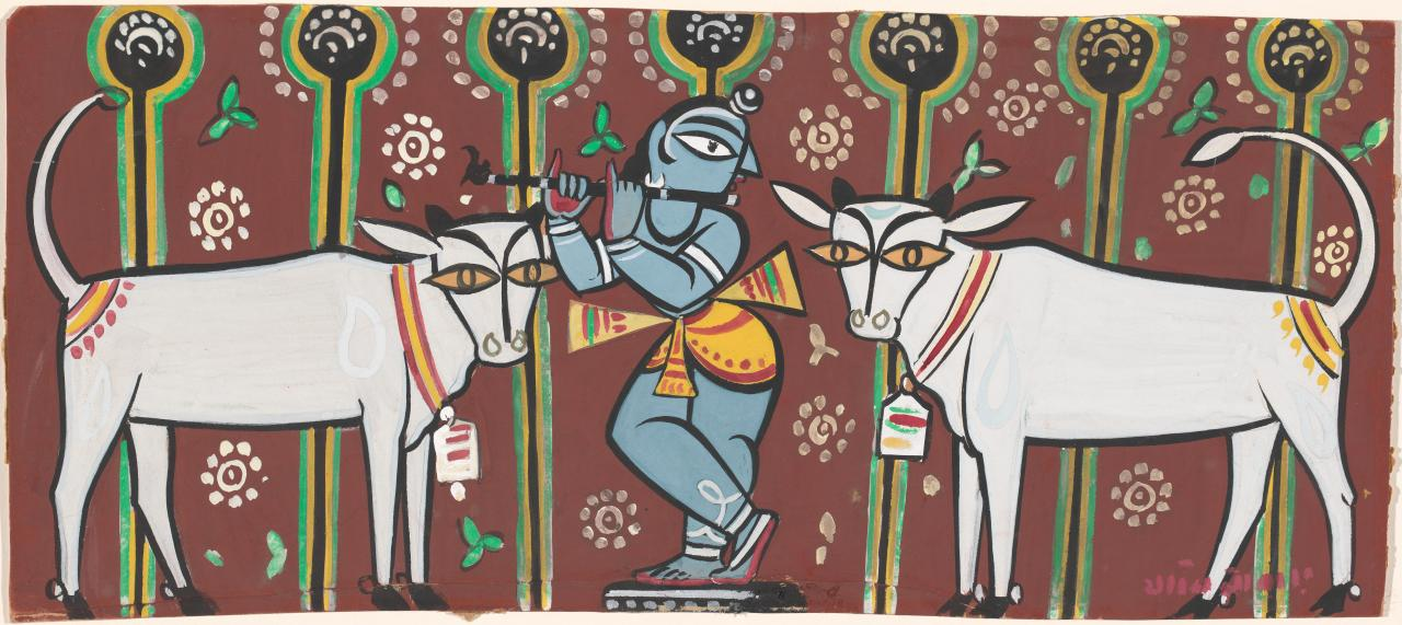 Fluting Krishna with cows