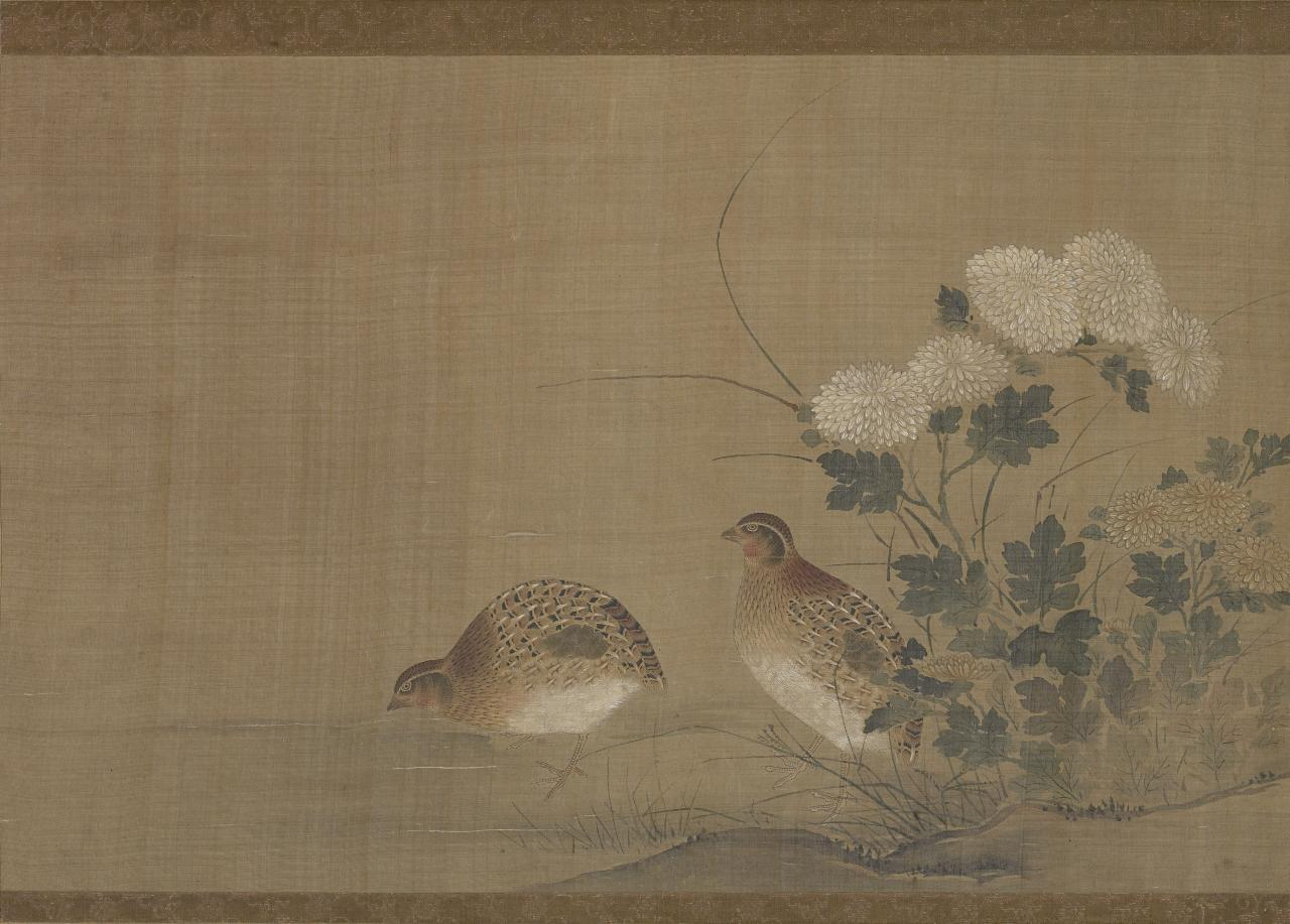 Quails and flowers
