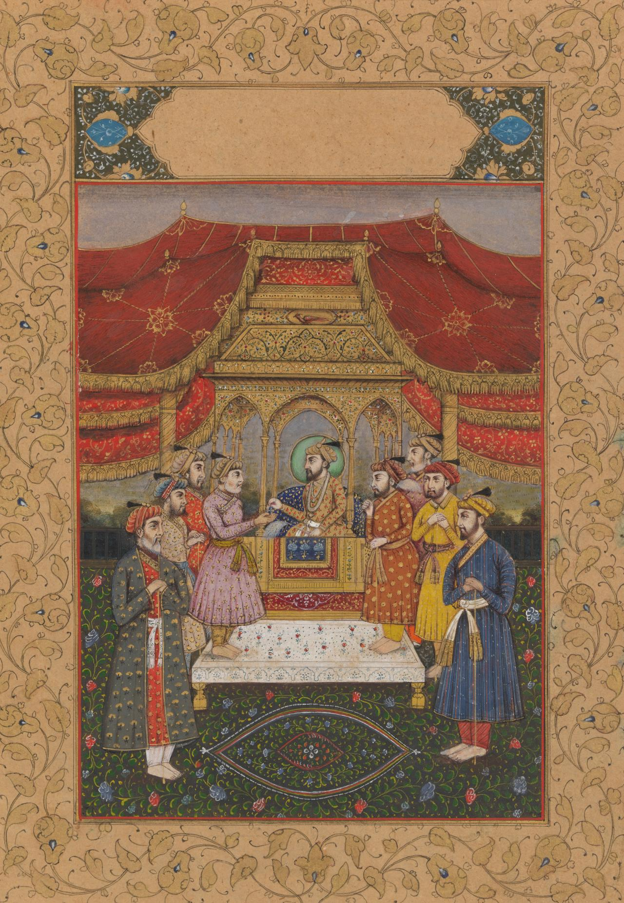 A Mughal emperor with courtiers