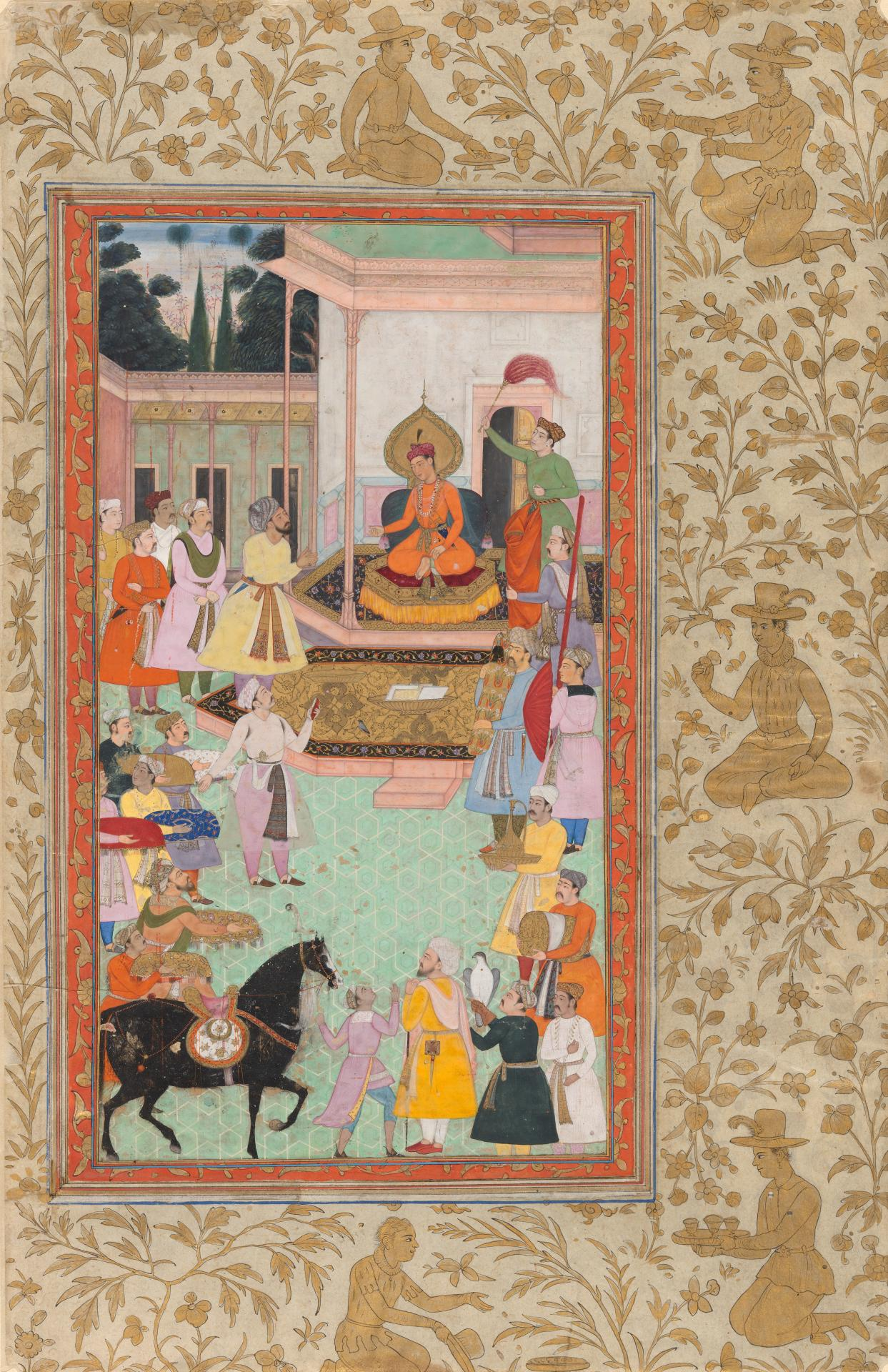 Akbar receiving gifts from his ministers from the Akbarnama