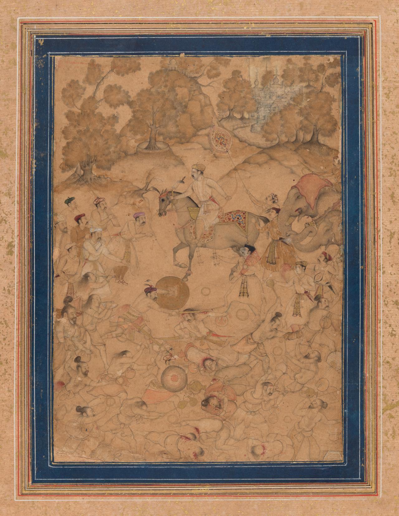 The Mughal emperor observes battle between the Kur and Puri bands of ascetics