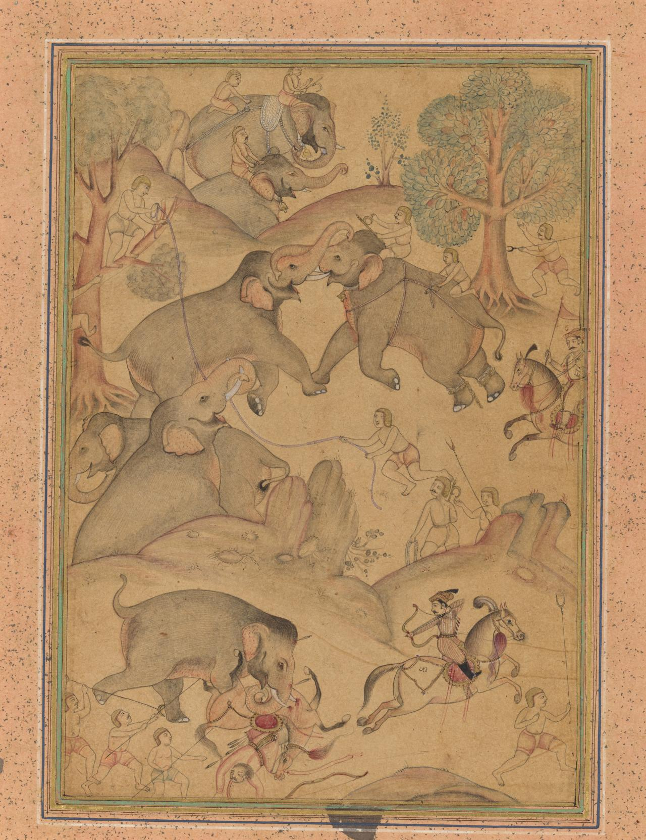 A Mughal nobleman and Hunters trapping wild elephants